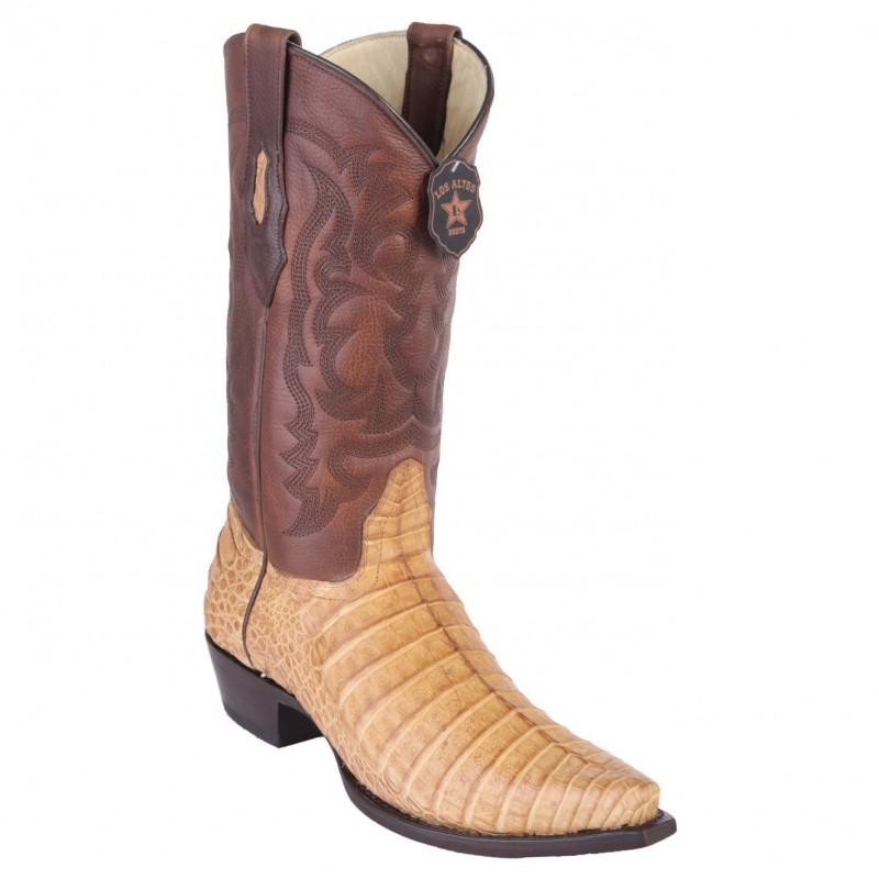 48949fe2185 Los Altos Men's Miel Greasy Finish Caiman Belly Snip Toe Boot