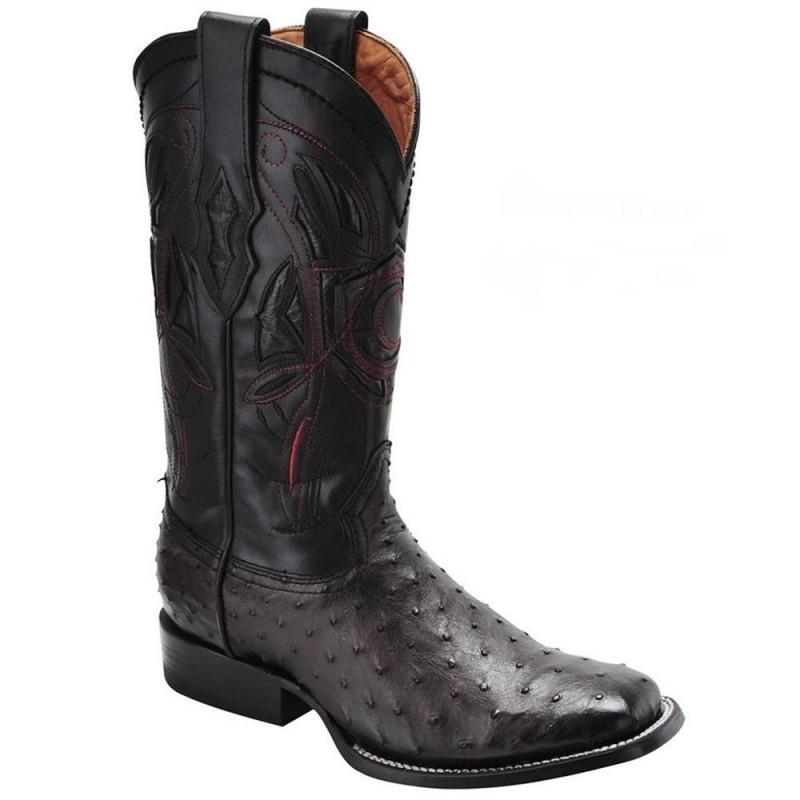 46617a69f1d Cuadra Men's Ostrich Wide Square Toe Western Boots Black Cherry