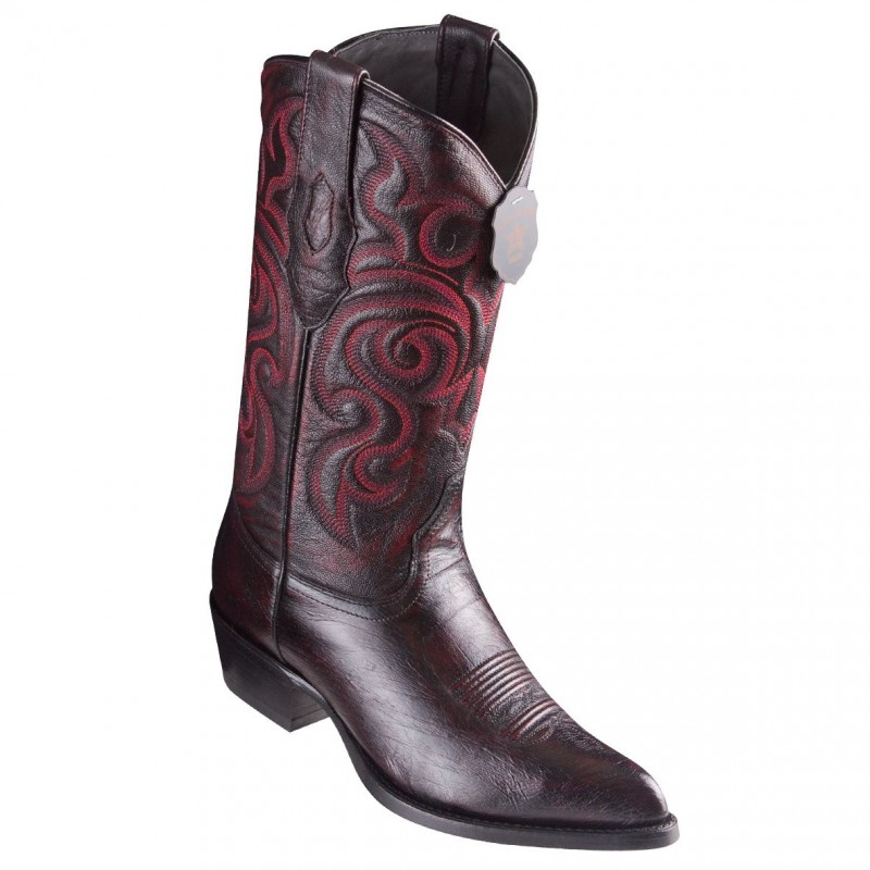 f424e82a75c Los Altos Smooth Ostrich Black Cherry Cowboy Boots J-Toe