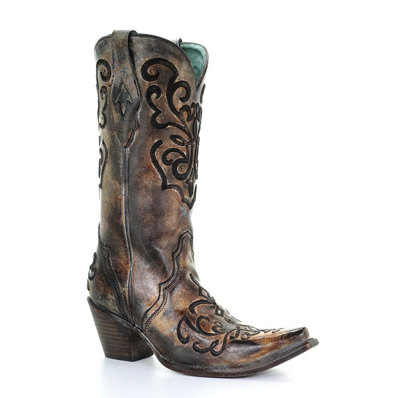 43cbac17b59 Corral Women's Cord Embroidery and Crystals Western Boots - Snip Toe