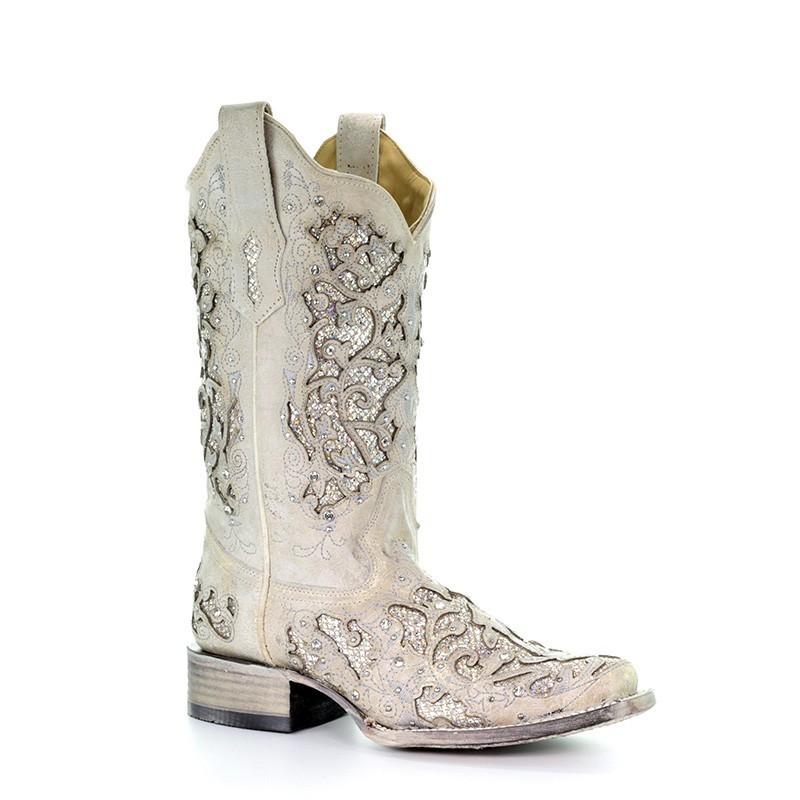 f4a8aeb275a Corral Women's White Glitter & Crystals Cowgirl Boots - Square Toe