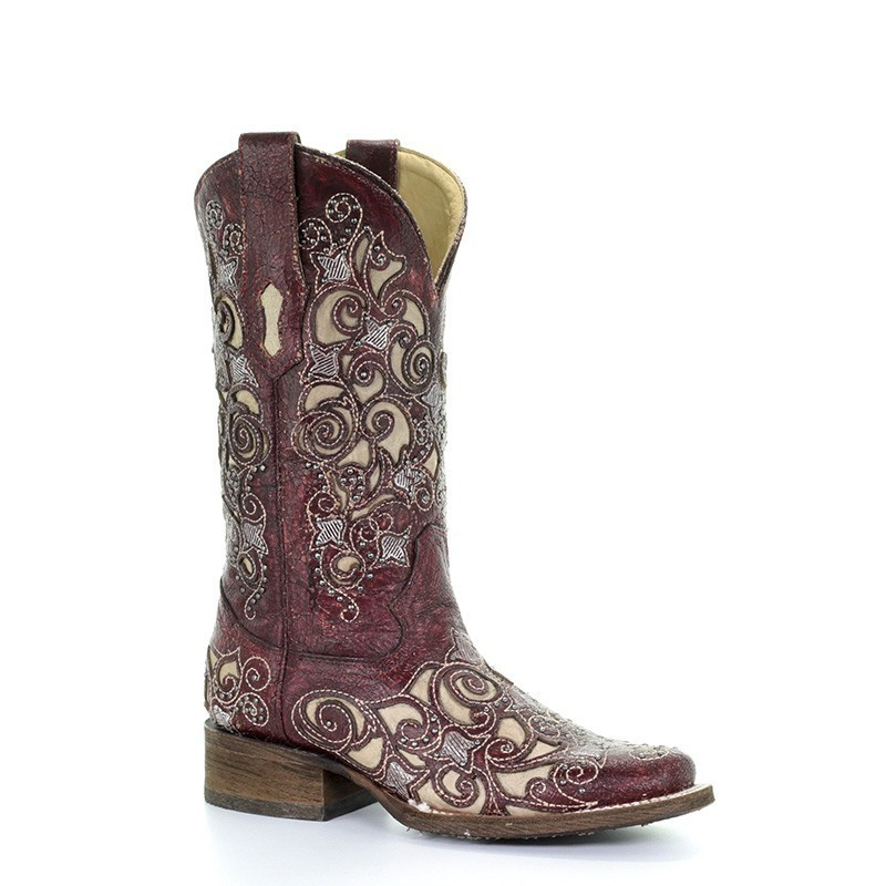c99a56dba32 Corral Women's Red Inlay and Floral Embroidery Western Boots - Square Toe