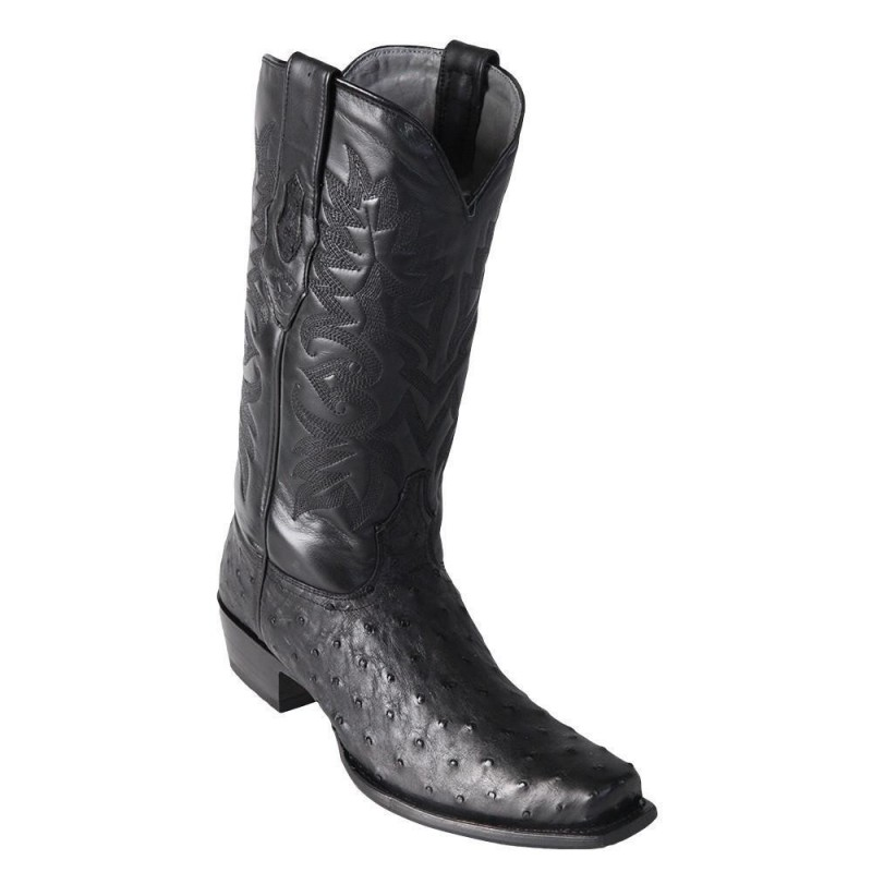 ef1ad4c8434 Los Altos Men's Black Ostrich Square 7-Toe Cowboy Boots